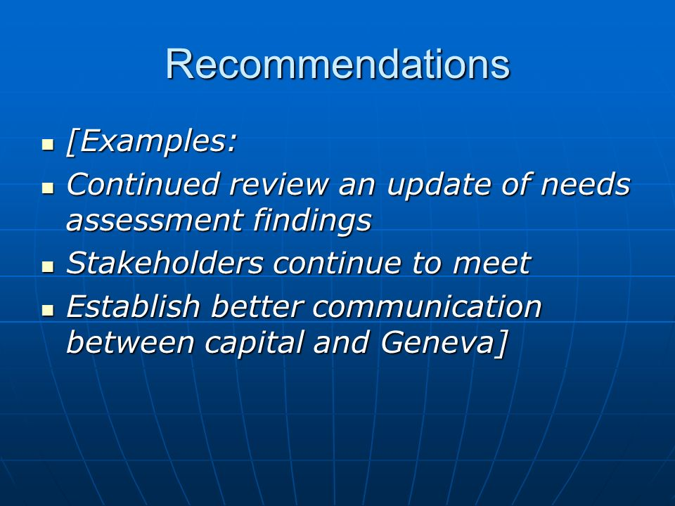 Recommendations [Examples: